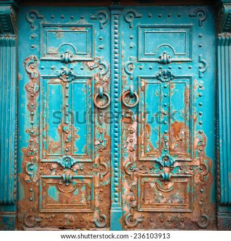Vintage metal door - stock photo