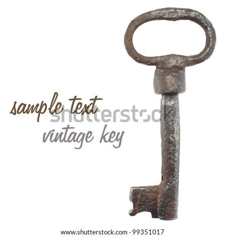 vintage metal key isolated on white background. - stock photo