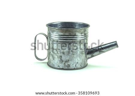 Vintage metal pot, isolated on white background - stock photo