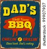 Vintage metal sign - Dad's BBQ - Raster Version - stock photo