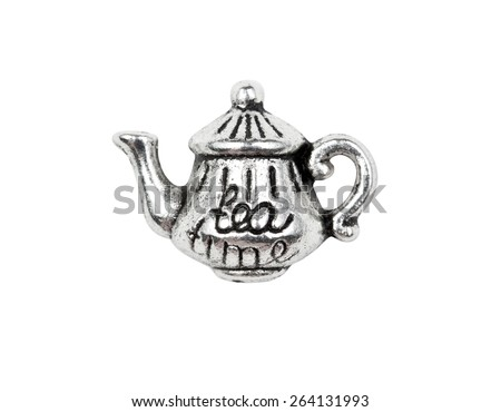"Vintage metal teapot charm with the inscription ""tea"", isolated on white - stock photo"