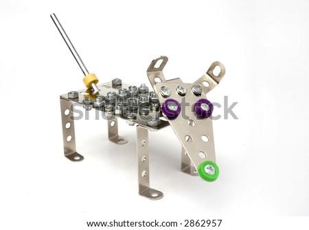vintage metal toy - dog or rat - stock photo