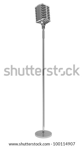 Vintage Metallic Microphone isolated on white background - stock photo