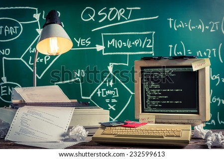 Vintage methods of programming at school - stock photo