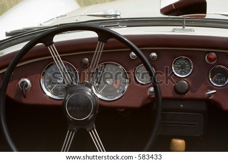 Vintage MG - British Car - Dashboard and Wheel Closeup - stock photo