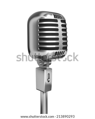 Vintage microphone - 3d illustration, isolated on white background  - stock photo