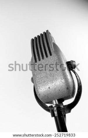 vintage microphone in close up - stock photo