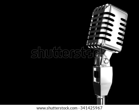 Vintage Microphone on a Black Background - Stock Image - stock photo