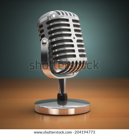 Vintage microphone on green background. Retro style. 3d - stock photo