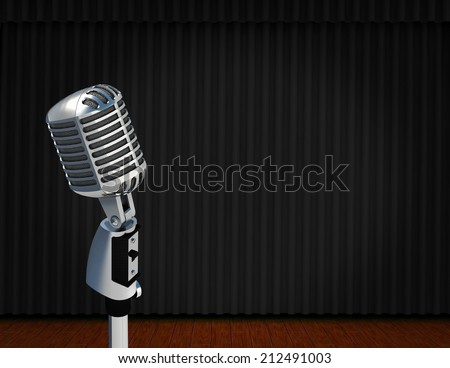 vintage microphone on Theater stage with curtains and spotlights Theatrical scene in the light of searchlights, the interior of the old theater  - stock photo