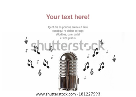 Vintage microphone with sheet music on white background - stock photo