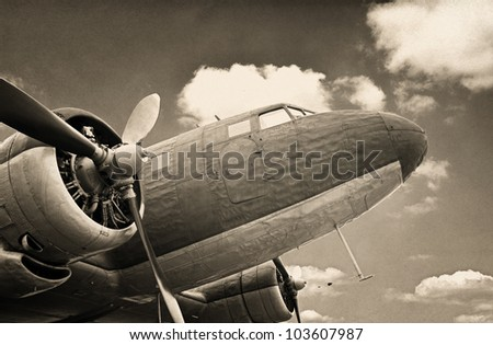 Vintage military aircraft - stock photo