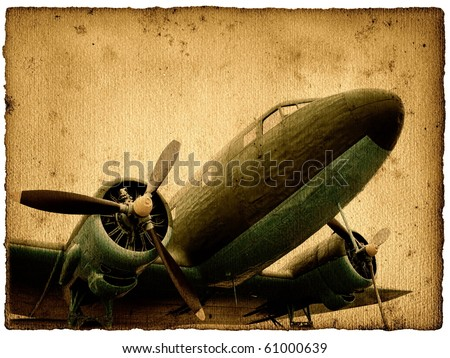 Vintage military aircraft, cargo plane - stock photo