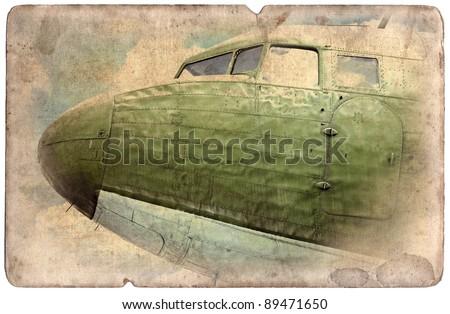Vintage military postcard isolated on white background, ww2 bomber - stock photo