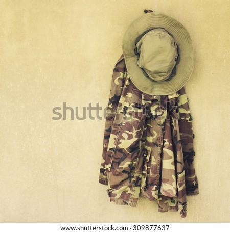 vintage,military shirt,military caps - stock photo