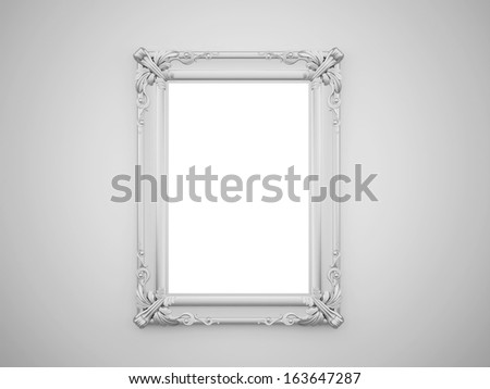 Vintage mirror with silver frame on the wall rendered - stock photo
