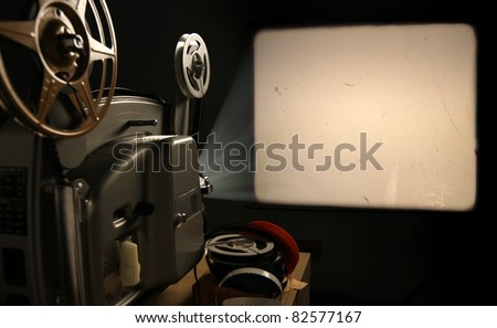 Vintage 8mm Film Projector with Blank Frame - stock photo
