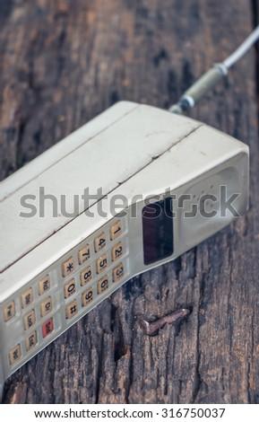 vintage mobile phone (vintage style) - stock photo