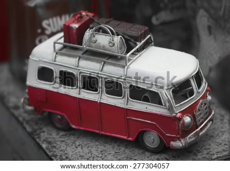 vintage model car - stock photo