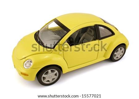 Vintage model car isolated on white background - stock photo