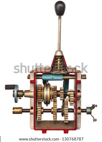 Vintage model of a gearshift isolated on a white background - stock photo