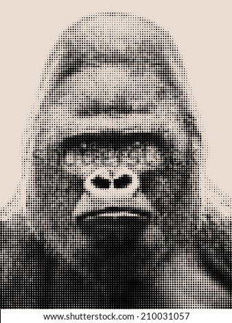 Vintage mosaic portrait of a gorilla male, severe silver back. Grave look of the great ape, the most dangerous and biggest monkey of the world. The chief of a gorilla family.  - stock photo