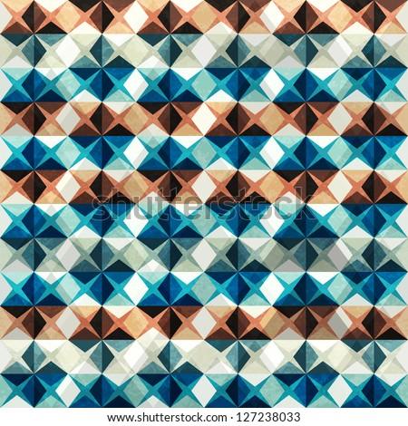 vintage mosaic seamless with grunge effect (raster version) - stock photo