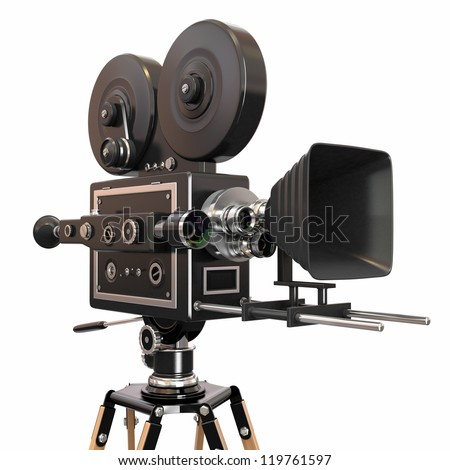 Vintage movie camera. 3d - stock photo