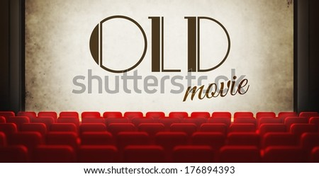 Vintage movie screen in old retro cinema, view from audience - stock photo