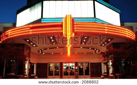 Vintage movie theater with neon lights in Sacramento, California - stock photo