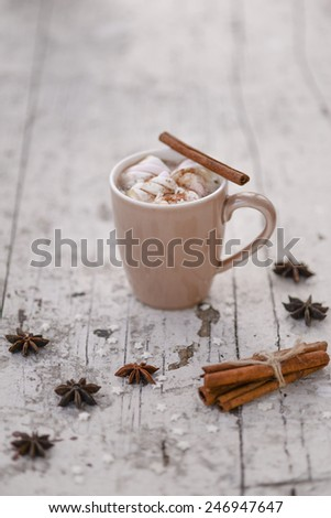 Vintage mug of Cocoa with marshmallows hot drink with gingerbread cookie and cinnamon sticks and anise stars on a white shabby table - stock photo
