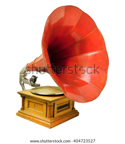 Vintage musical gramophone photographed closeup on a white background - stock photo