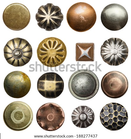 Vintage nails and rivets - stock photo