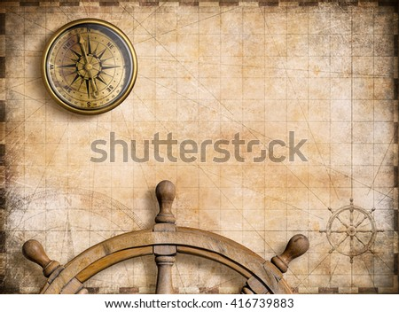 vintage nautical map with compass background 3d illustration - stock photo