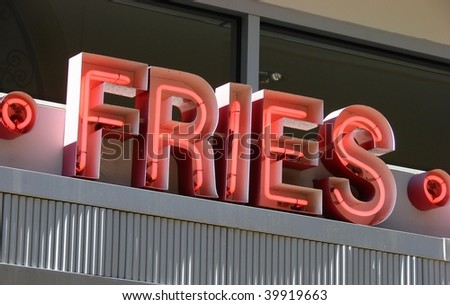 vintage neon fries sign - stock photo