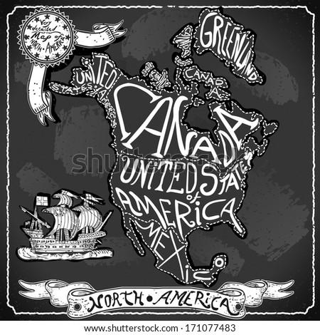 Vintage North America Map Blackboard. Geographic Northern America Chalk Board Map. Retro Vintage typography North America. Chalk Handwriting Northern America Map.Vintage Background Infographic Image - stock photo