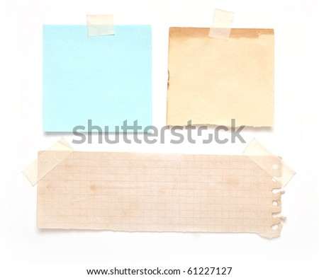 vintage notes on scotch isolated on white - stock photo