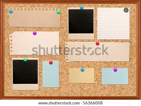 vintage notes over brown cork background - stock photo