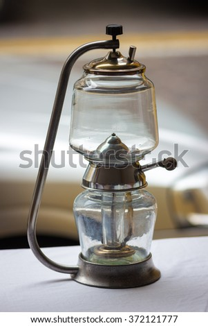 vintage oil lamp at a flea market - stock photo