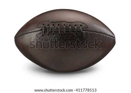 Vintage old American Football on white with drop shadow - stock photo