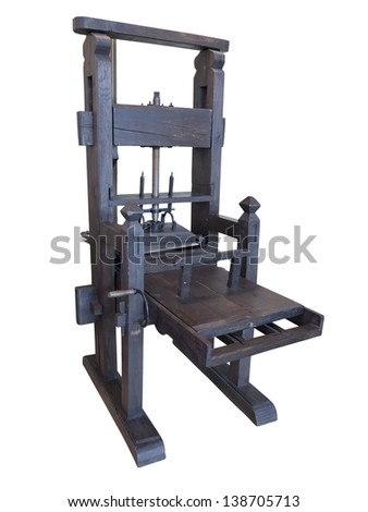 Vintage old black letterpress restored to working condition, isolated on white background - stock photo
