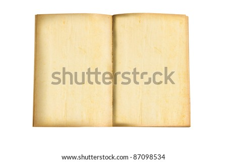 vintage old book blank open on white background - stock photo