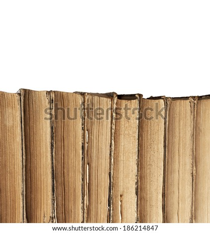 vintage old books isolated on white - stock photo