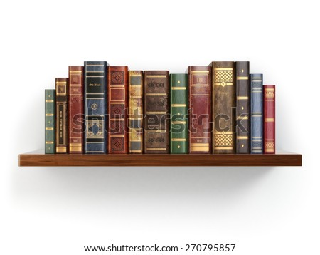 Vintage old books on shelf isolated on white. 3d - stock photo