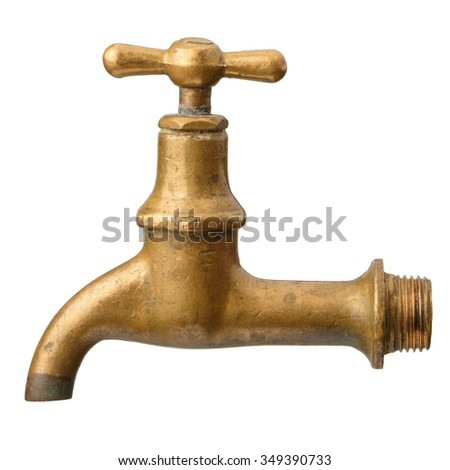 Vintage old brass water tap isolated on white background - stock photo