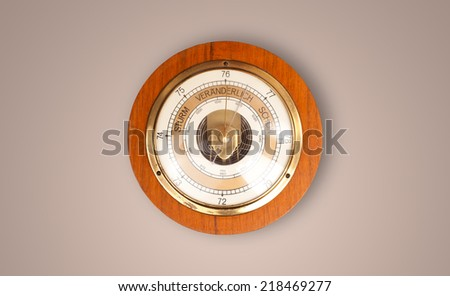 Vintage old clock with showing preicse time on the wall - stock photo