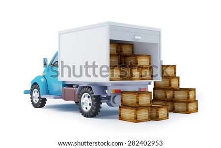 Vintage old delivery truck, open with boxes. Back view - stock photo