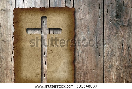 Vintage old grungy paper banner with a Christian religious cross over ancient wood background for religion, retro, aged, grunge, faith, holiday, God, religious, Jesus or belief designs - stock photo