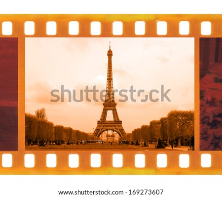 vintage old 35mm frame photo film with Eiffel Tower in Paris, France - stock photo