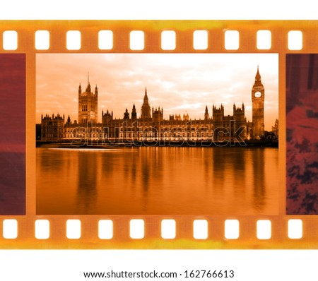 vintage old 35mm frame photo film with Famous and beautiful view to Big Ben and  Parliament, UK - stock photo